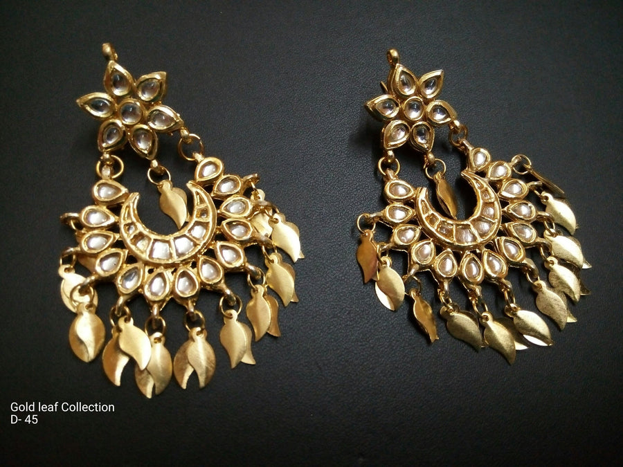 Designer Golden Leaf Earings