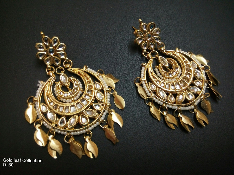 Designer Gold Leaf Earrings