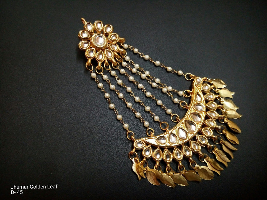 Designer Jhoomar Golden Leaf Earings