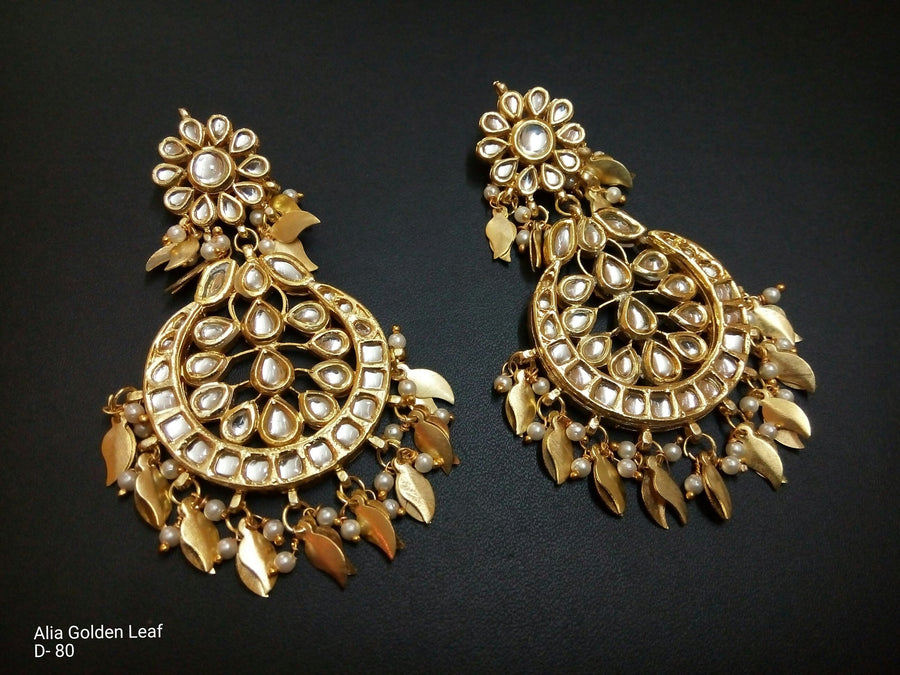 Designer Alia Golden Leaf Earrings