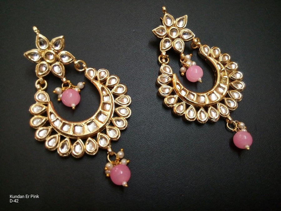 Designer 2 Beads Kundan Earrings