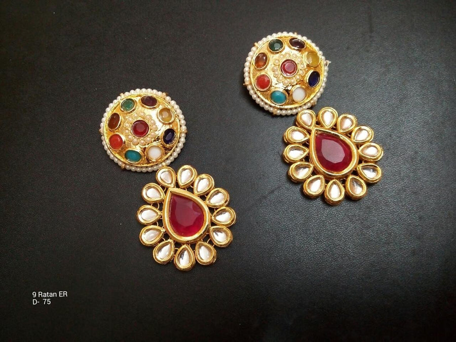 Designer Beads Nav Ratna Earing with Red Stone in Centre
