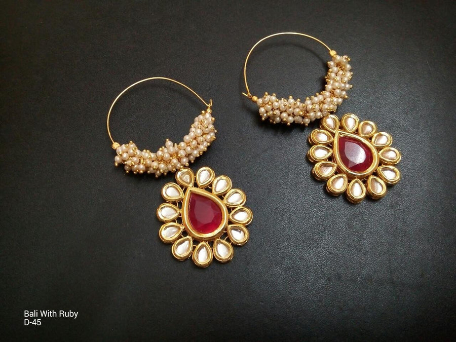 Designer Beads Bali Earrings with Ruby
