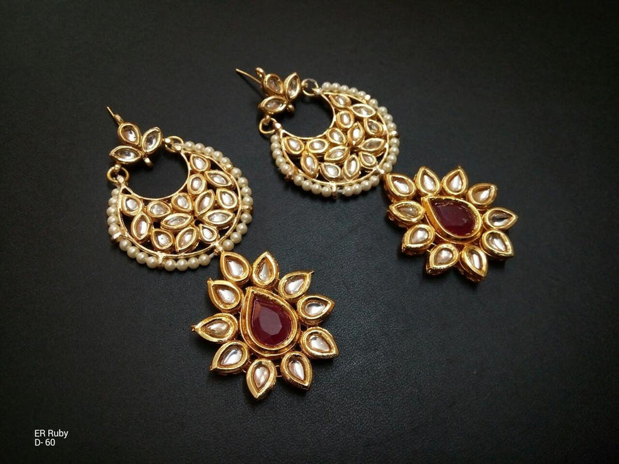Designer Bead Ruby Earrings