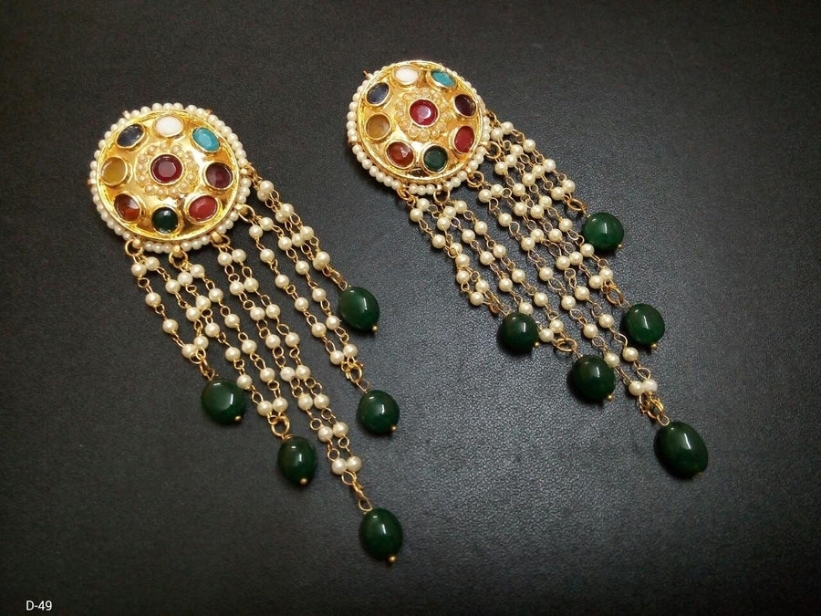 Designer Beads Drop Earings with Nav Ratna