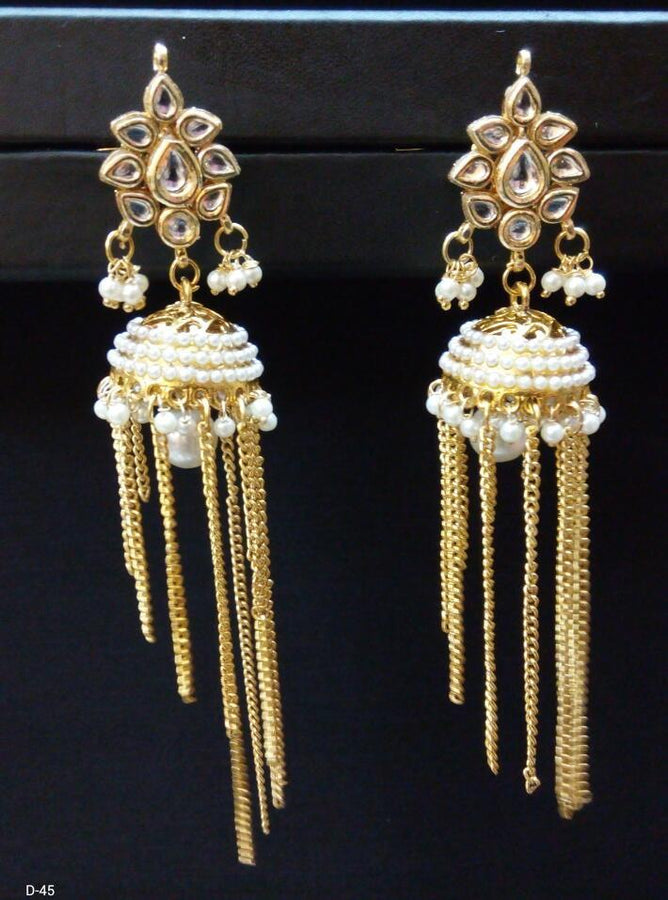Designer Beads Drop Earings with Chain