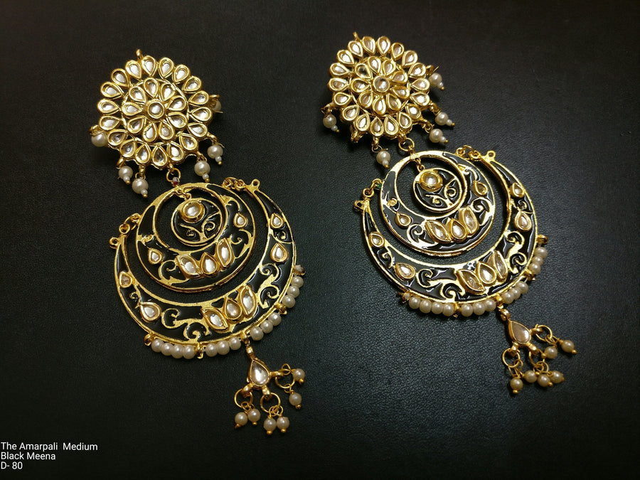 Designer Amarpali Medium Black Meena Earring