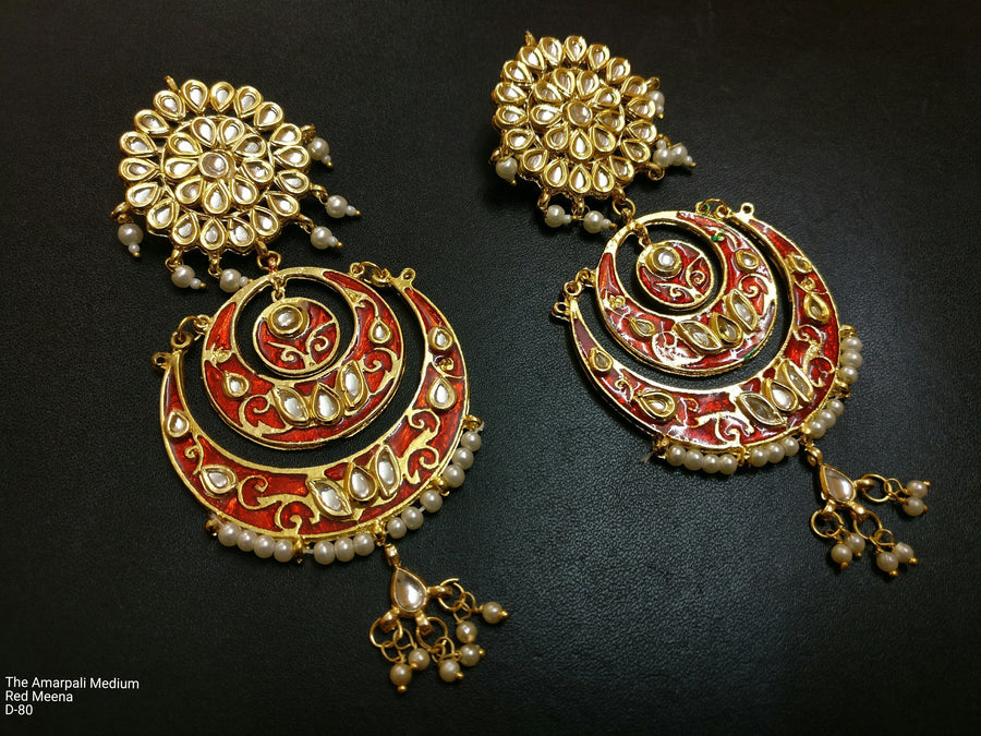 Designer Amarpali Medium Red Meena Earring