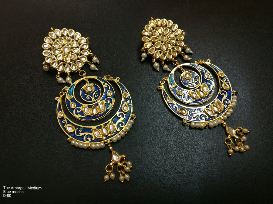 Designer Amarpali Medium Blue Meena Earring