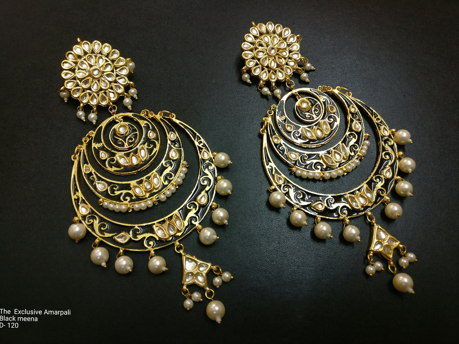 Designer Exclusive Amarpali Black Meena Earring