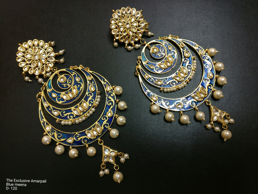 Designer Exclusive Amarpali Blue Meena Earring