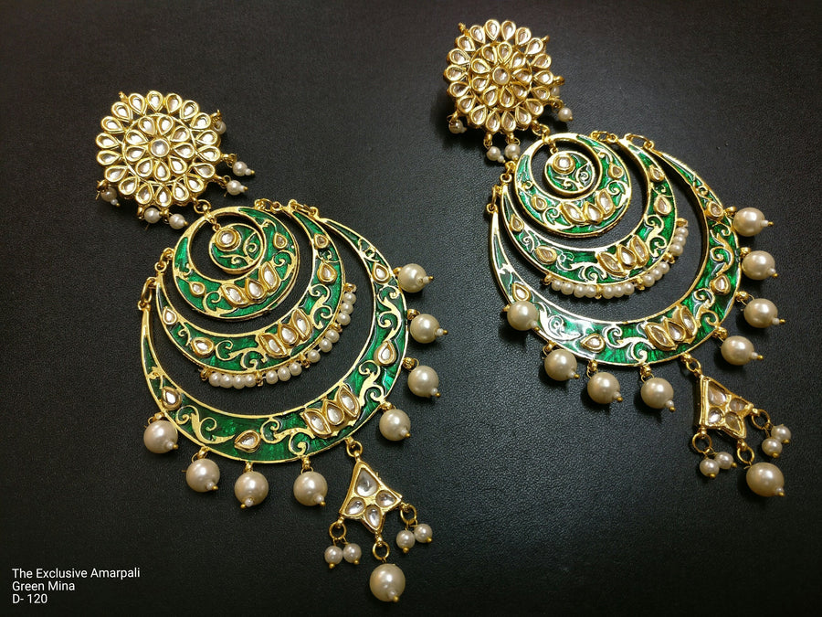 Designer Exclusive Amarpali Green Meena Earring
