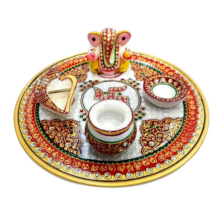 Hand Crafted with Incredible Meenakari Pooja Thali
