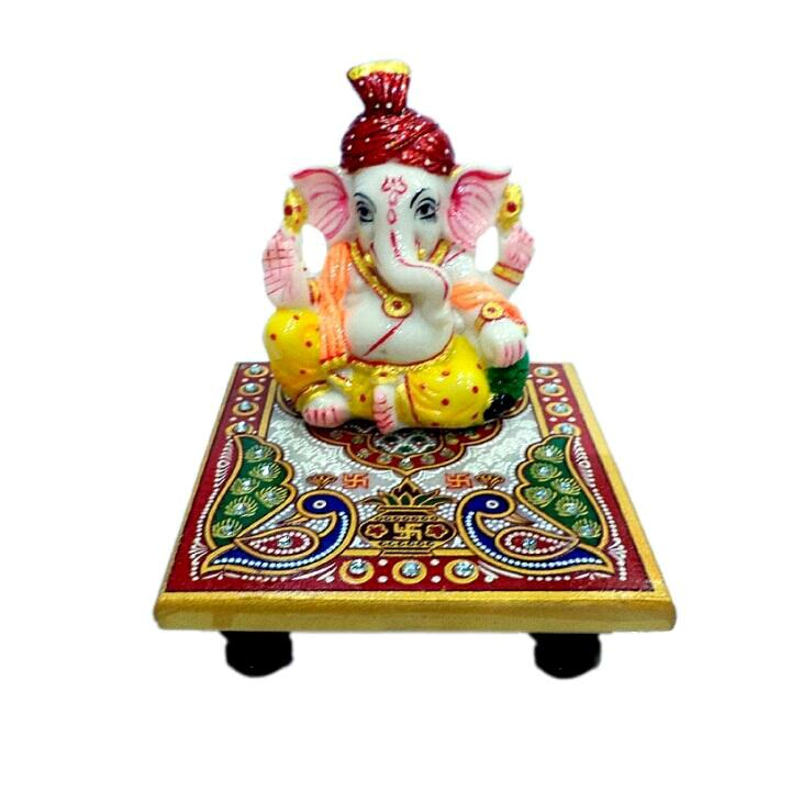 Hand Crafted with Incredible Meenakari Pagari Ganesh Statue 12inch 800gm