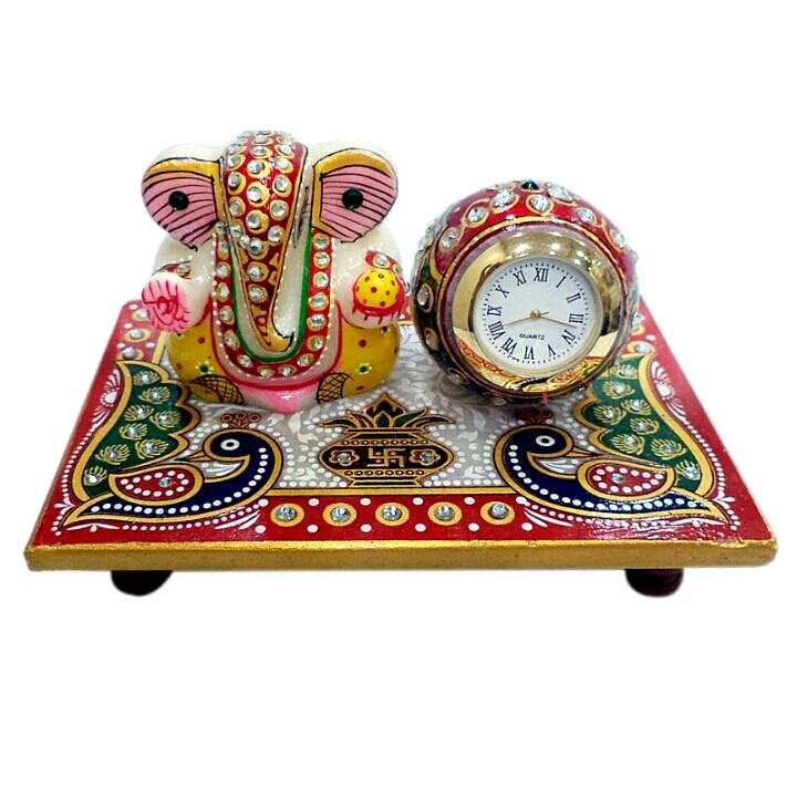 Handcrafted with stones and Detailed Designs Ganesh Clock Patta