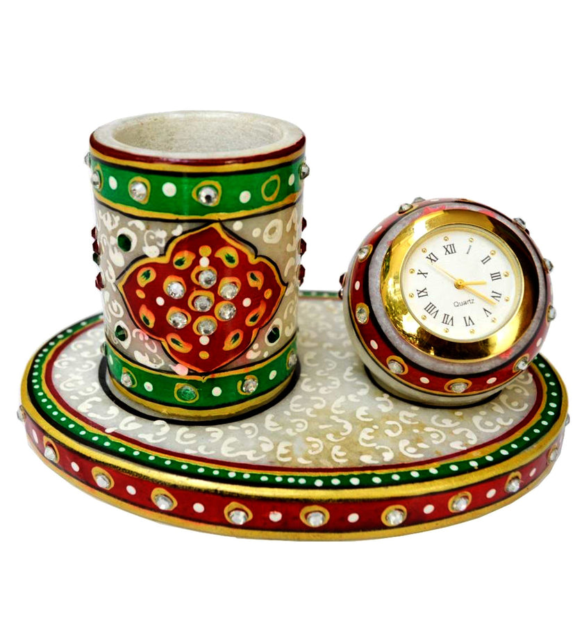 Ethnic Green Clock Pen Stand
