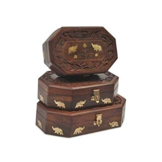Desi Karigar Wooden Antique Brown Jewellery Box with Brass Work Set Of 3 Size.