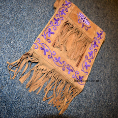 Brown Shoulder Bag with Purple Embroidery
