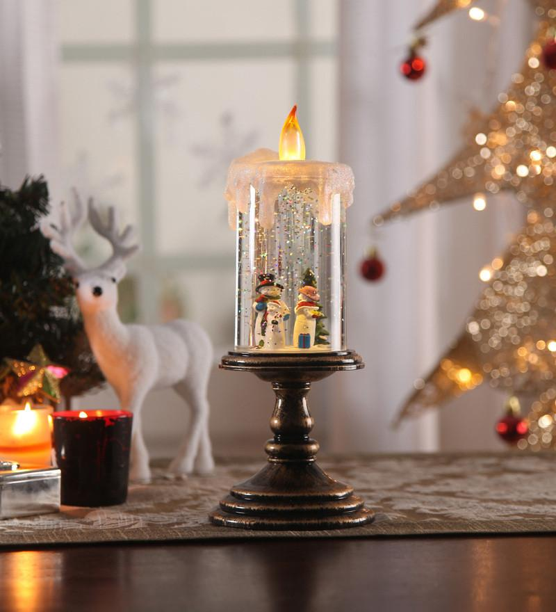 Christmas Snow Shimmer Acrylic PVC Glass LED Candle Table Lamp with Snowman Set, Battery Operated