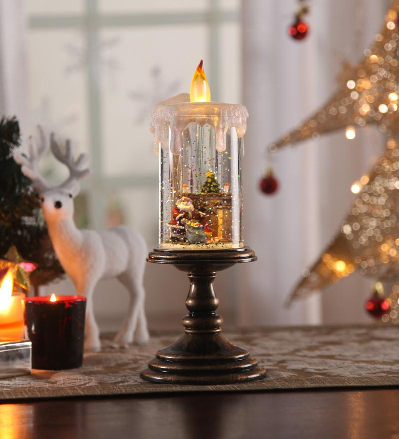 Christmas Snow Shimmer Acrylic LED Candle Table Lamp with Santa Set, Battery Operated
