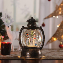 Christmas PVC and Glass LED Snow Globe Lantern Table Lamp with Snowman Set Battery Operated
