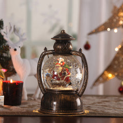 Christmas PVC and Glass LED Santa Globe Lantern Table Lamp with Santa Battery Operated