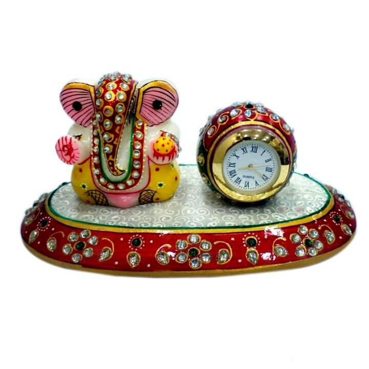 Hand Crafted with Incredible Meenakari Oval Ganesh Clock