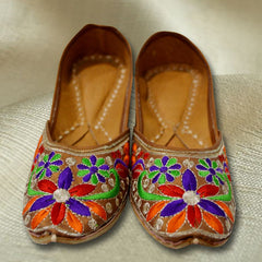 Multi Colored designer Jutti with Phulkari work - Women