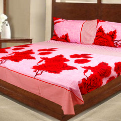 100% Cotton Red Rose Double Bed Sheet With Two Pillow Covers