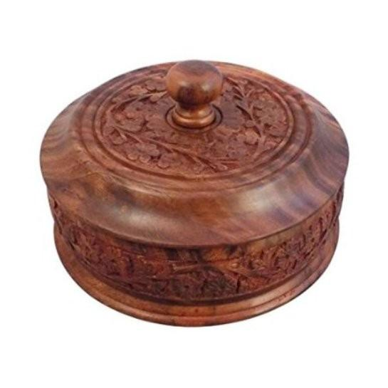 Desi Karigar Wooden Dry Fruit Box With Hand Carved design