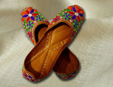 Designer Multi Colored Festive Wear Jutti with Phulkari for Women