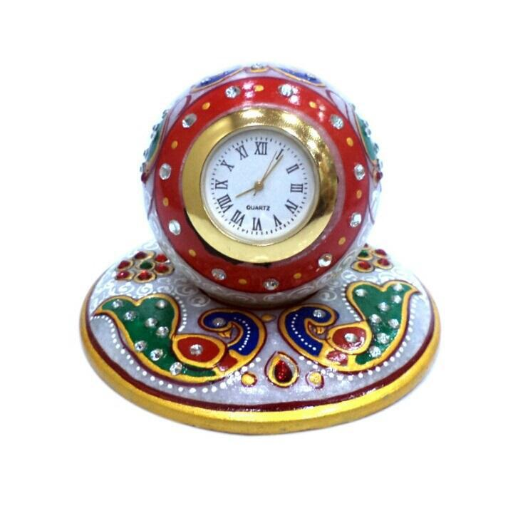 Ethnic Flawless Art Piece Gol Clock Stand