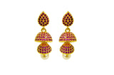 Jhumkas - White, Red, Multi-Colour