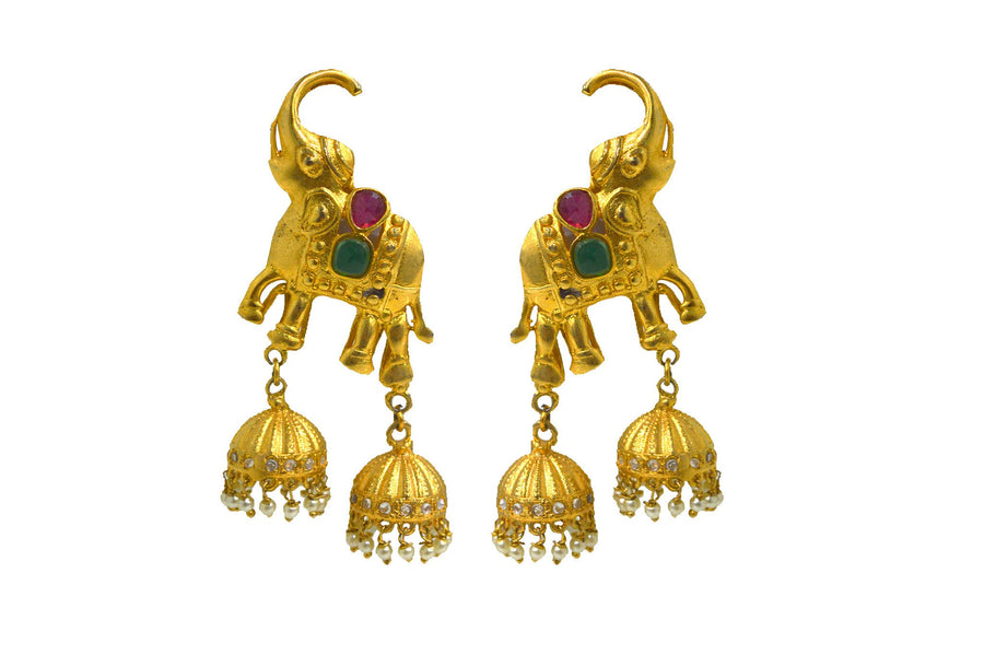 Matte Finish Jhumka Elephant