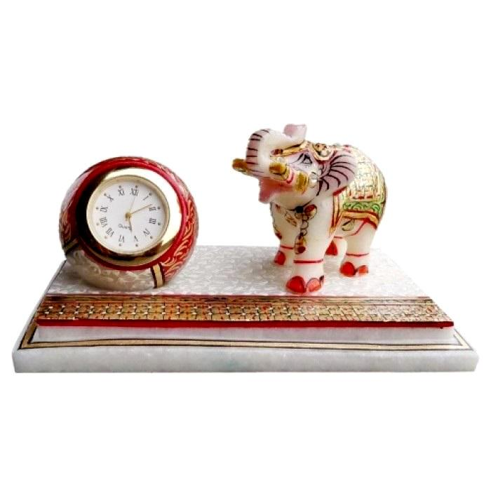 Elephant Clock Square Plate Handcrafted with Meenakari Design