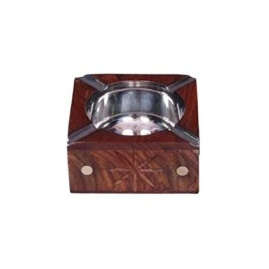 Desi Karigar Wooden Antique Hand Carved Ashtray With Brass Inlay