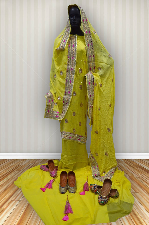 .Yellow Heavy Work Ludhiana Suit