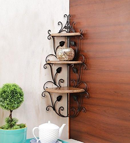 Desi Karigar Wall Mounted Wooden corner rack shelves