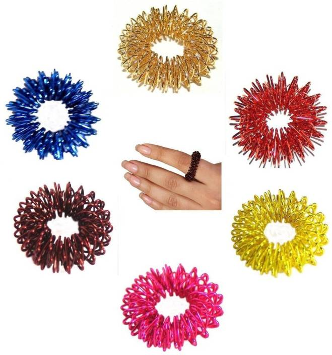 ACUPRESSURE HEALTH CARE SYSTEMS Acupressure Massager Therapy Magnetic Pointed Magnetic Pointed Hand Roller Total Pain Relief + 5pcs Sujok Finger Rings Roller Massager  (Multicolor)
