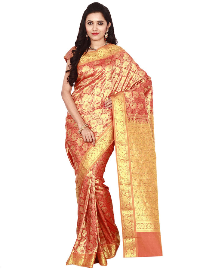 Intricate Zari Work and Brocade Type Designed Silk Saree
