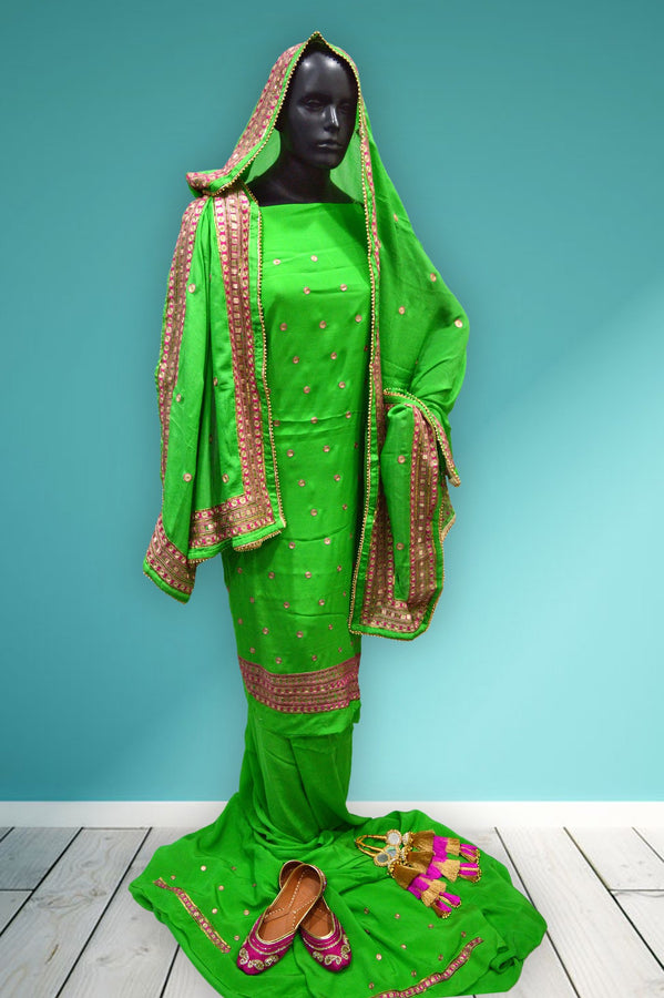 Green Pita Work Ludhiana Suit