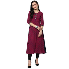A-Line Printed Pink & Blue Party Wear Kurta  for Women