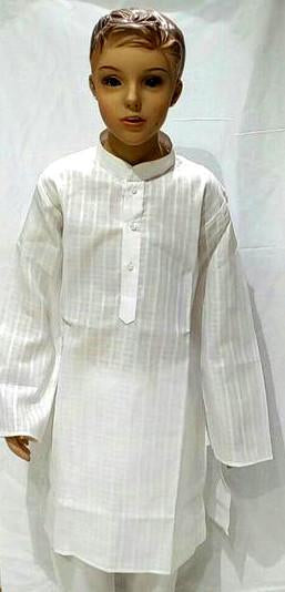White cotton self striped and checked kurta pyjama for kids