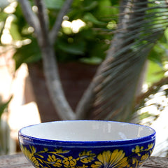 Blue Base With Yellow Flower Bowl