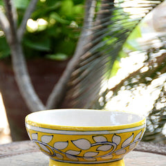 Yellow White Leaf bowl