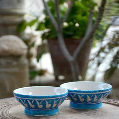 Turquoise White Wing Bowl - Set Of 2