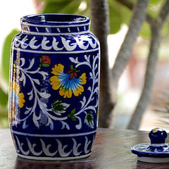 decorative-blue-pottery-sugar-jar-bd004-a313