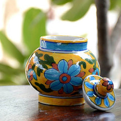 Yellow Decorative Blue Pottery Sugar Jar