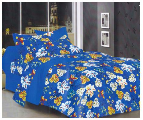 Lali Prints Superior 100% Cotton Floral 1 Double Bedsheet With 2 Pillow Covers