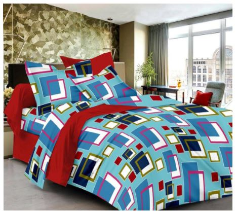 Lali Prints S-Touch Luxury Colorful Square Print 1 Double Bedsheet With 2 Pillow Covers